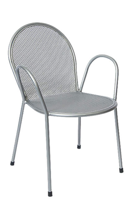 This outdoor chair features a powder-coated metal frame and silver finish and is perfect for commercial or home use.
