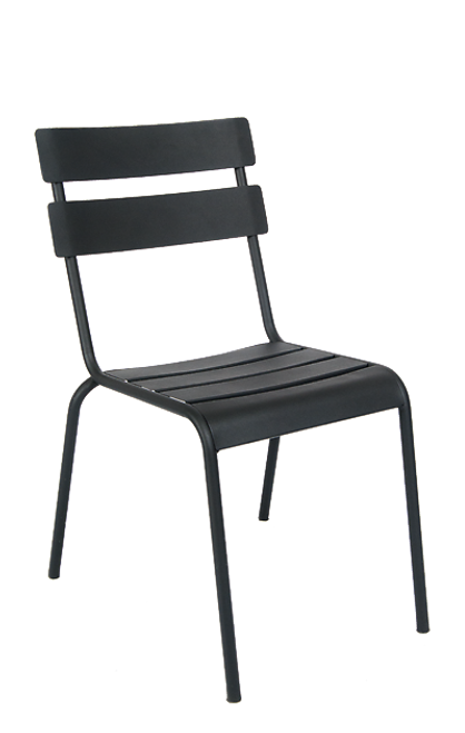 This outdoor steel ladder-back chair in black is eye-catching, durable, and stackable. This chair is perfect for commercial or home use.