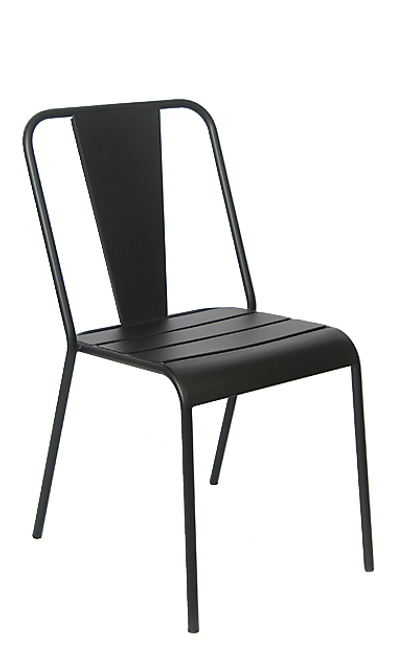 This outdoor iron chair in black withstands outdoor use and adds sophistication to your home, restaurant or bar patio.