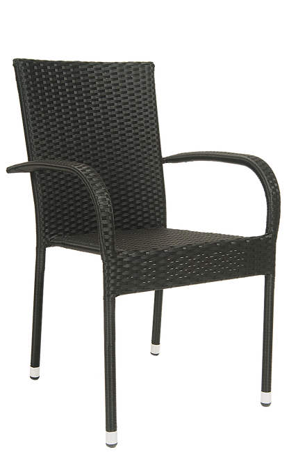 This outdoor armchair is a great option for your home, restaurant or bar patio. Features Include: Durable Steel Frame to Withstand Outdoor and Commercial Use and Black Rattan Finish for a Clean and Elegant Look.