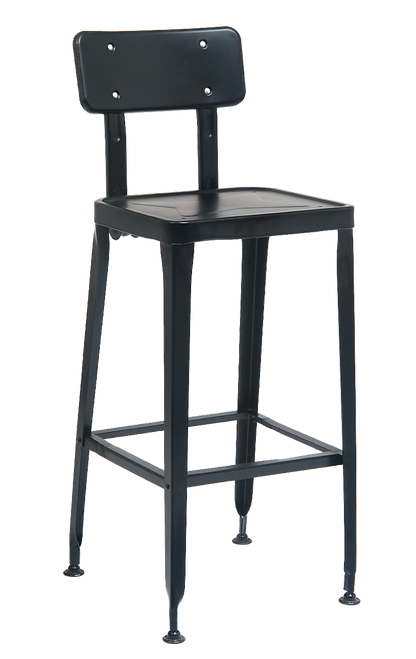 This metal bar stool in black is a modern, versatile addition to your home, restaurant or bar.