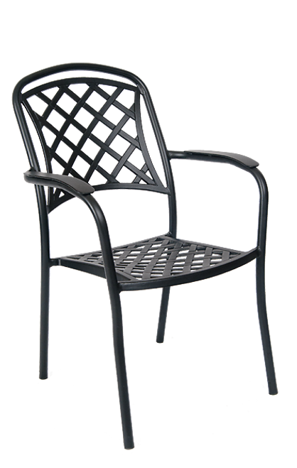 Add style to your home, restaurant or bar patio with this outdoor armchair. Features include a durable aluminum frame and an antique bronze finish.