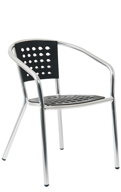 This outdoor aluminum armchair features a black resin seat and back. This armchair is perfect for your home, restaurant or bar summer seating area.