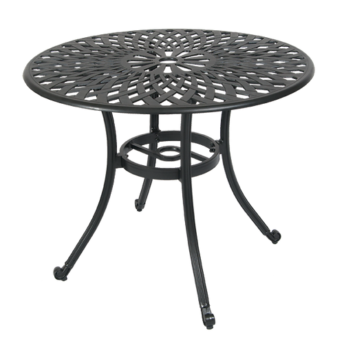 """Go for style and function with our Mag Mile outdoor table aluminum table in antique bronze finish, for home or restaurant use. Diameter: 36"""""""