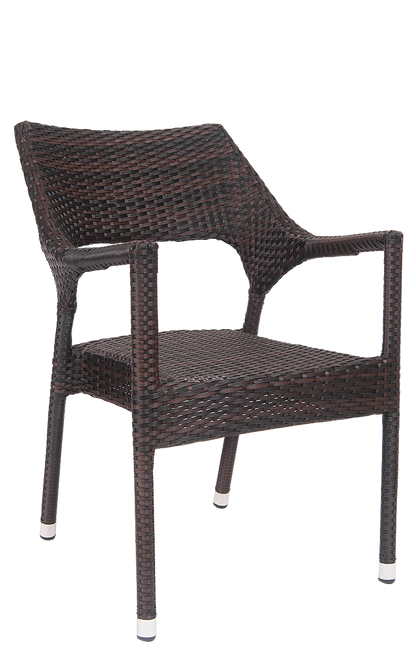 This outdoor aluminum/synthetic wicker armchair is perfect for your summer patio. Ideal for home, restaurant, or bar use.