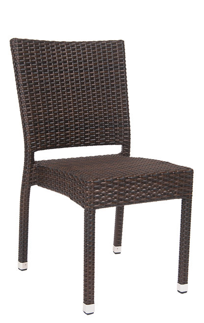This outdoor wicker chair has a durable aluminum frame and a tall back for comfort and support. This chair is built for home, restaurant, or bar outdoor use and ensures a successful summer patio dining experience.