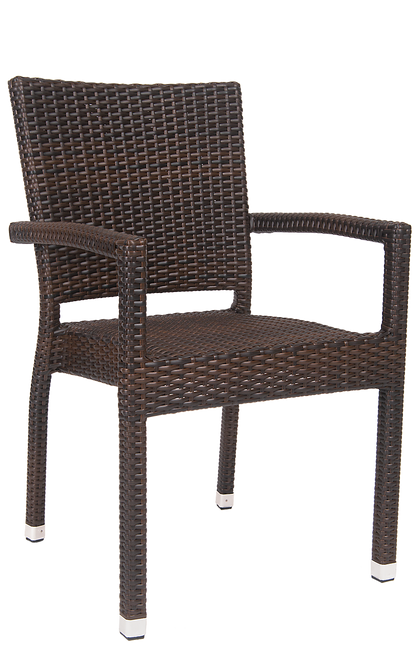 This sleek synthetic wicker outdoor armchair is perfect for restaurant or home use. Features Include: Sturdy Aluminum Frame to Withstand Outdoor and Commercial Use, Synthetic Wicker Exterior , and Armrests for Comfort and Support.