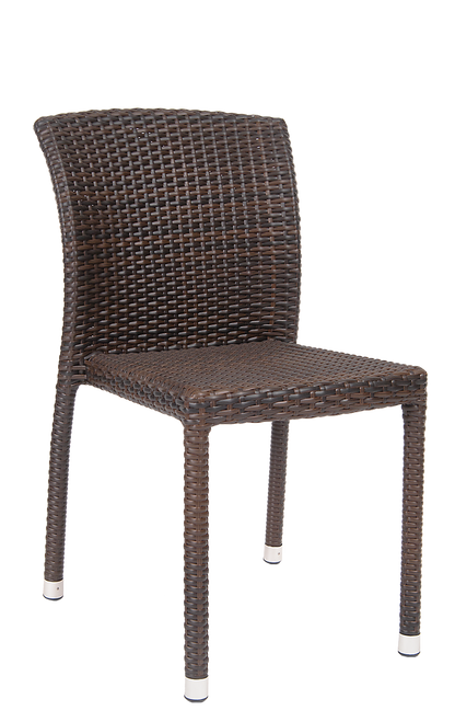 This synthetic wicker side chair is elegant yet relaxed. Features Include: Tall and Supportive Back, Synthetic Wicker Exterior for Comfort and Style, and Aluminum Frame to Withstand Outdoor Restaurant Use.