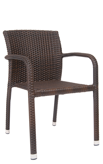 This outdoor armchair has a casual, warm-weather look that's perfect for your home, restaurant or bar. Features Include: Aluminum Frame to Withstand Outdoor Commercial Use, Synthetic Wicker Exterior, and a Comfortable, Supportive Back.