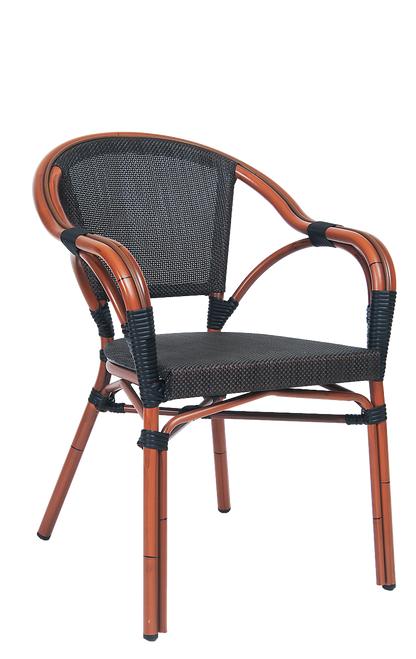 Enjoy warm weather in this outdoor aluminum armchair. Features Include: Poly-Woven Seat and Back for Comfort and Style and Soft Curves and Subtle Slopes. Built for home or commercial use.