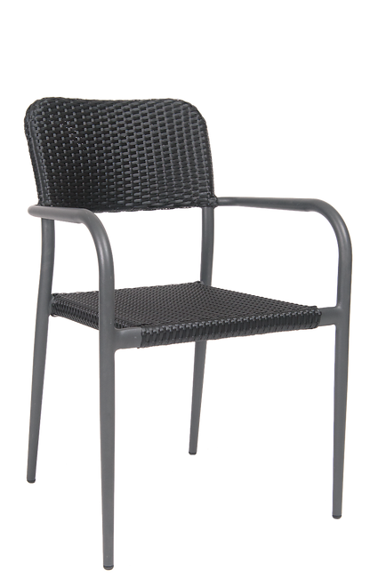 This outdoor armchair has a dependable aluminum frame, poly-woven exterior in black, and curved aluminum armrests. Built for home or restaurant outdoor use.