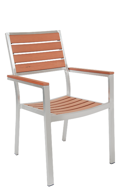 Furnish your home or restaurant patio with this outdoor aluminum armchair. Features Include: Imitation Teak Slats, Two Arms for Support, and Durable Aluminum Frame for Outdoor Commercial Use.