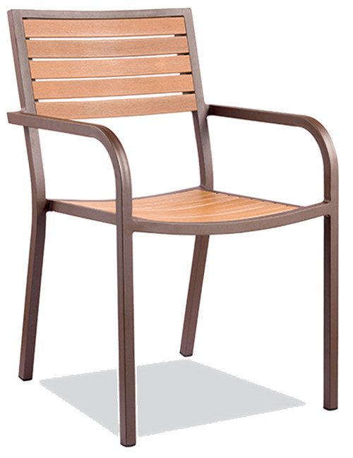 This outdoor armchair features: Durable Aluminum Frame, Imitation Teak Slats (note that these slats have a thinner width than our other teak-slatted products), and Two Arms for Support. Built for Home or Commercial Use.