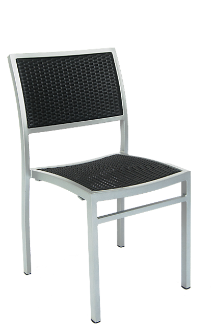 Kingsbury outdoor chair features an aluminum frame built to endure commercial use, and a synthetic wicker woven back and seat. Available in black.