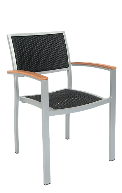 Quincy outdoor aluminum armchair with synthetic wicker woven back and seat in black color, built to endure commercial use.