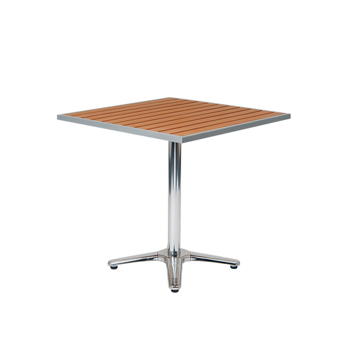 "Bryn Mawr 30"" x 30"" aluminum table with imitation teak slats top, built to endure home or restaurant outdoor use."