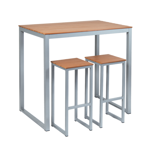 "Our 30"" x 45"" Bissell aluminum bar table features an imitation teak slats top and is built to withstand outdoor use, making it ideal for your home or restaurant patio dining area. (Bar stools sold separately.)"