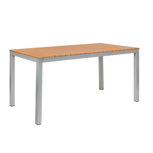 """Summer seating is easy with our 32"""" x 60"""" Sheridan outdoor aluminum table. Features include: imitation teak slats top and 2"""" umbrella hole. Built to endure home or commercial outdoor use."""