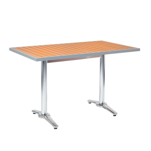 "Barkley 32""x72"" outdoor aluminum table with imitation teak slats top, aluminum frame, 2"" umbrella hole. Built to endure home, restaurant, or bar outdoor use."