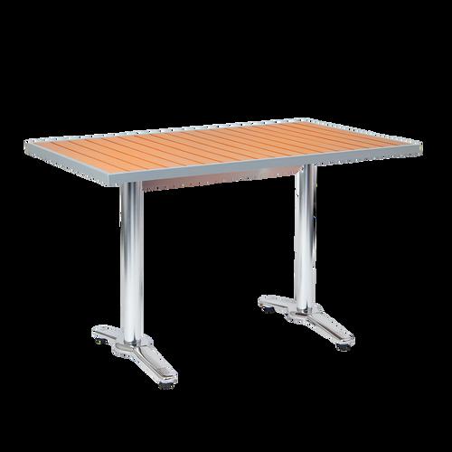 "Barkley 32""x72"" outdoor aluminum table with imitation teak slats top, aluminum frame, 2"" umbrella hole. Built to endure home, restaurant, or bar outdoor use."