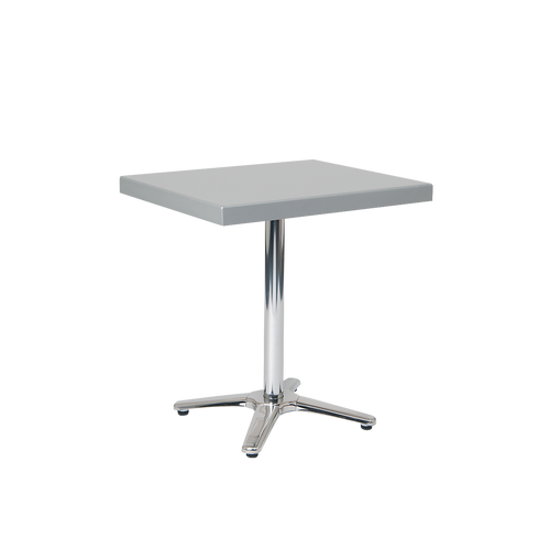 """Randolph 24"""" x 30"""" outdoor aluminum table with powder-coated top in silver color, for residential or commercial use."""