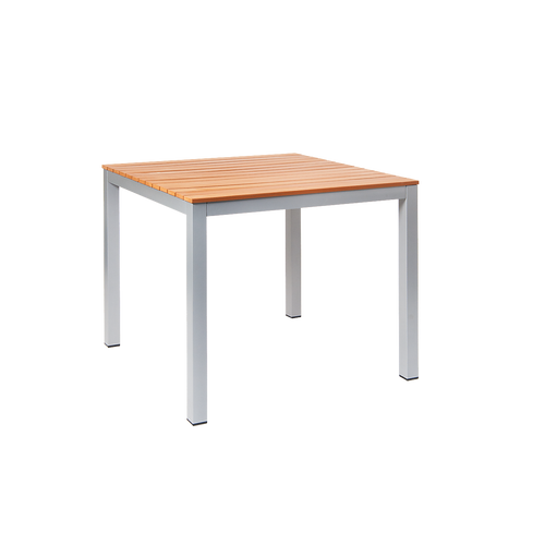 """Jackson aluminum table, 36""""x36"""", with imitation teak slats, silver finish, for home or commercial outdoor use."""