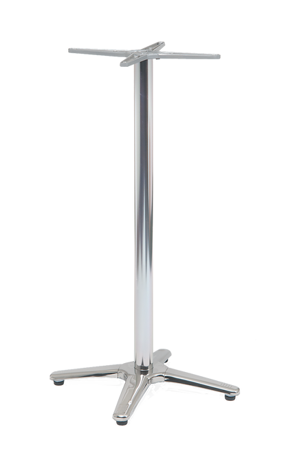 The Sheffield aluminum table base at bar height is paired with #ALP-series table tops only. Built to endure home and commercial use.