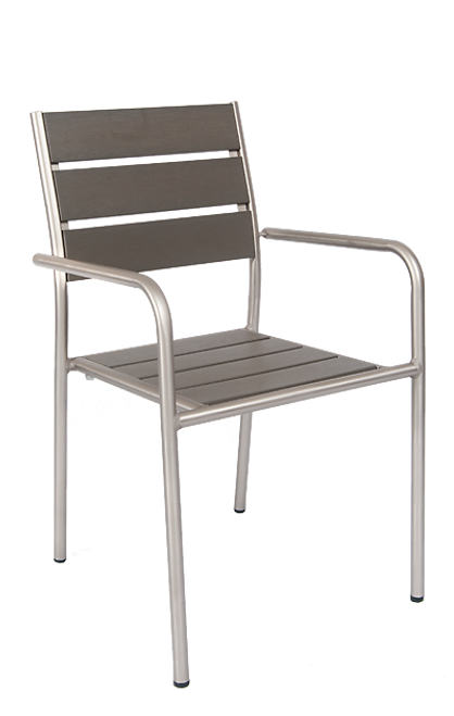 Argyle outdoor aluminum armchair with imitation teak slats seat and back in gray finish, for outdoor commercial or home use.