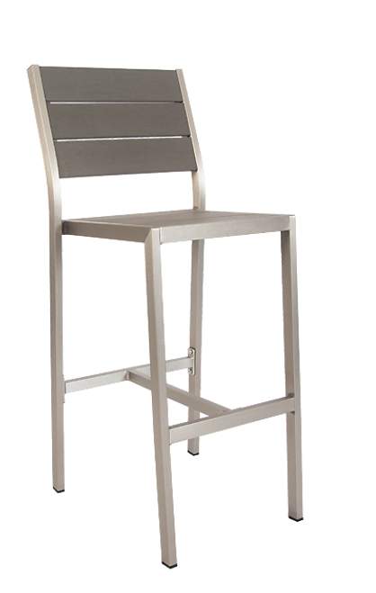 Argyle outdoor aluminum bar stool with imitation teak slats top and seat in gray finish, for outdoor home or commercial use.