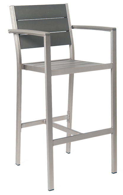 Argyle outdoor aluminum bar stool with imitation teak slats back and seat in grey finish, with arms, for commercial or home outdoor use.