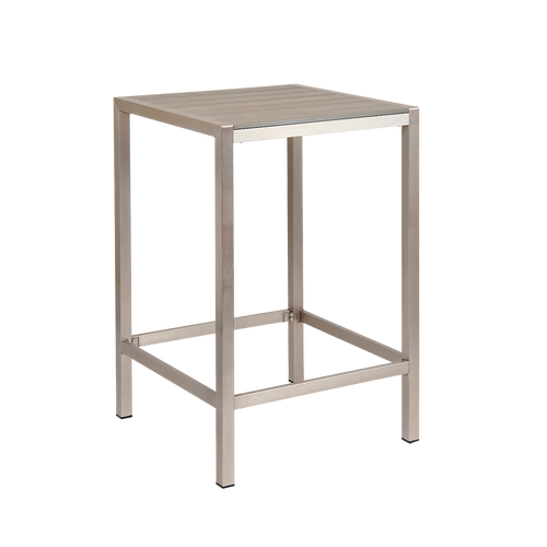 """Roscoe outdoor aluminum table with imitation teak slats top in grey finish, 30"""" x 30"""", for commercial or home use."""