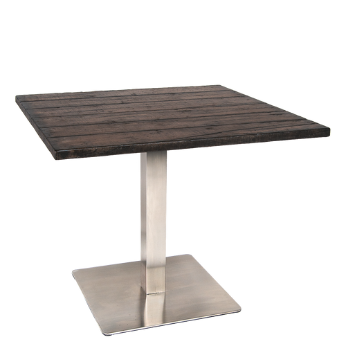"Roslyn 30""x30"" outdoor table with glass fiber-reinforced concrete top and stainless steel base, for residential or commercial use."
