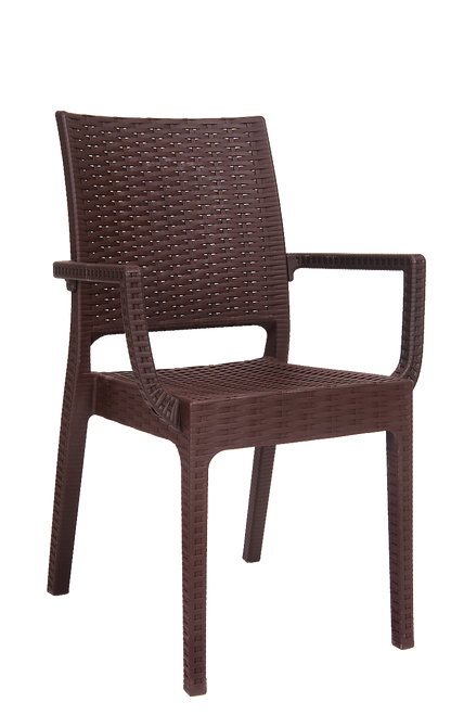 This outdoor, wicker-look, resin armchair in brown color is simple, elegant and easy to decorate with. Perfect for your backyard, deck or restaurant patio during the summer.