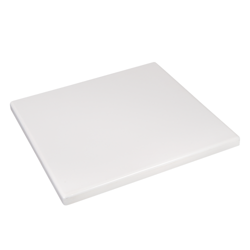 White resin table top for your restaurant or bar's indoor or outdoor seating area.  Also available in round.