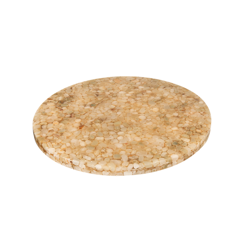 Round indoor resin table top with stone filling for commercial use.