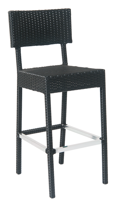 Outdoor aluminum/synthetic wicker (armless) barstool for your home, restaurant or bar seating area.