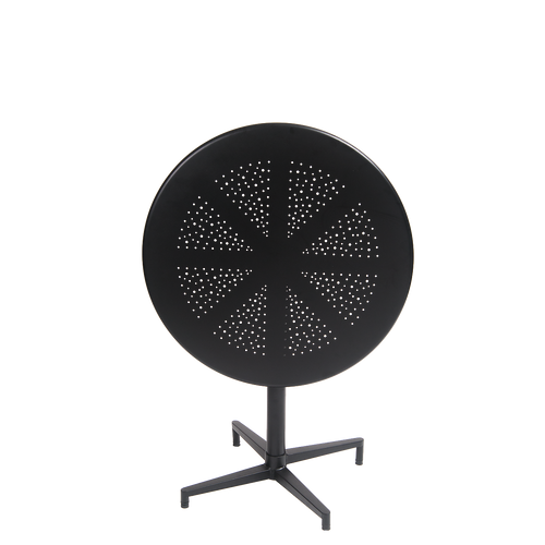 """30"""" round indoor/outdoor metal folding table in black finish.  The perfect aesthetic for your home, restaurant or bar seating area."""