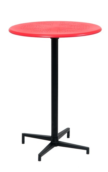 """30"""" round indoor/outdoor metal folding table, bar height, in red finish.  Perfect for your home, restaurant, or bar seating area."""