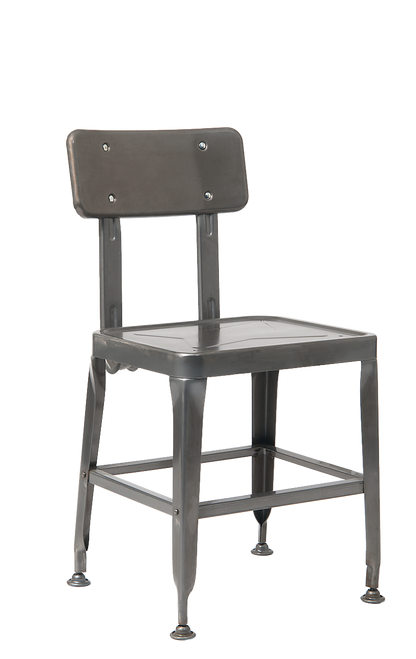 Indoor vintage-style metal chair in clear coating finish.