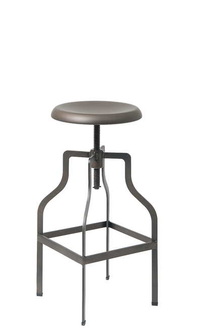 Industrial, vintage-style indoor steel bar stool in gun color, with adjustable height. For commercial or residential use.