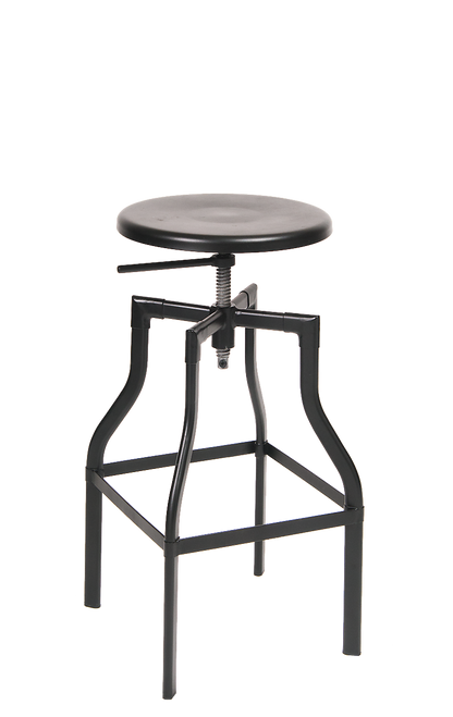 Indoor steel barstool in black with adjustable seat height, for your home, restaurant or bar seating area.