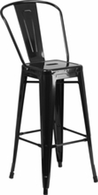 French-Inspired Industrial Galvanized Bar Stool in black | Seats and Stools