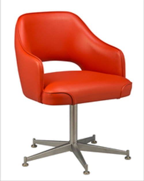 Open Back Club Bucket Chair - orange vinyl, uncasted base | Seats and Stools
