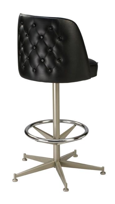Tufted Mid Height Bucket Stool - 5-legged anodized nickel base (back) | Seats and Stools