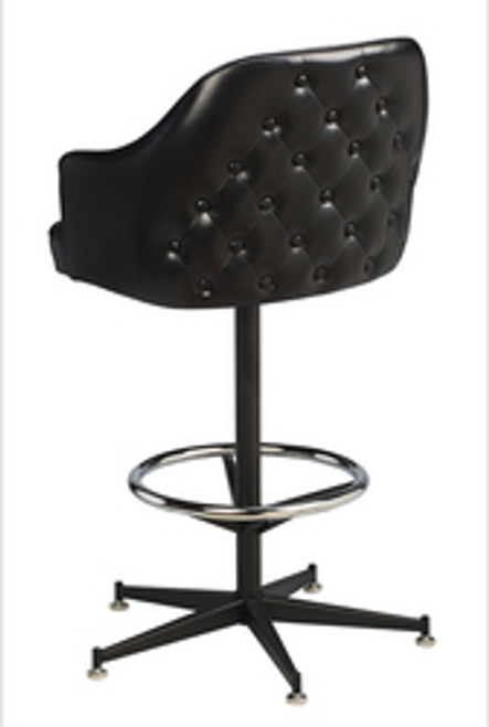 Tufted Saddle Bucket Bar Stool - black vinyl, 5-legged black base (back view) | Seats and Stools