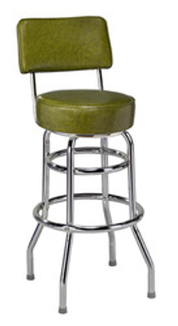 """Retro Double Ring Bar Stool with Back, 16"""" seat 