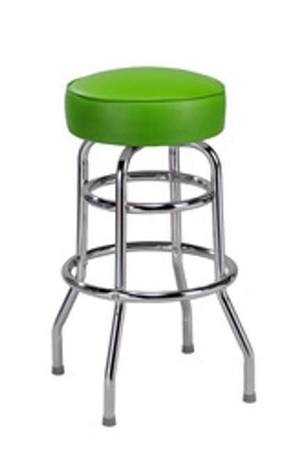 """Retro Double Ring Bar Stool with Round Seat, 14"""" seat size 