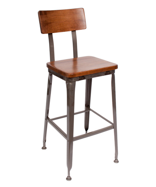 Modern Industrial Barstools Will give your Restaurant or Bar a fresh new look. It is  also perfect for your Home in the Kitchen  or Island. An updated look from a classic design. You can choose any of our powder coated finihses for the fraem. The seat can be in both Wood or a commercial grade vinyl for added comfort. Backs