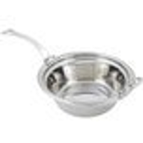 "Bon Chef 5456HLSS 13"" x 12"" x 4"" Stainless Steel 4 Qt. Casserole Laurel Design Food Pan with Long Stainless Steel Handle"