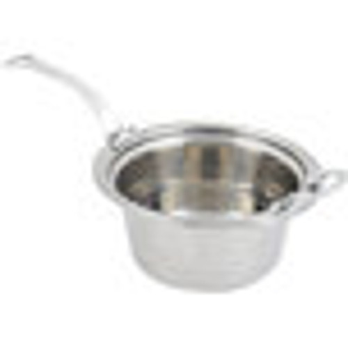 "Bon Chef 5460HLSS 12"" x 12"" x 6"" Stainless Steel 5 Qt. Casserole Laurel Design Food Pan with Long Stainless Steel Handle"